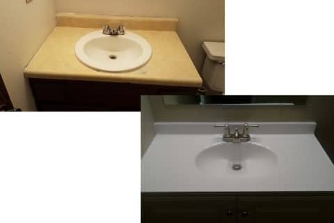 Bathroom sink before and after