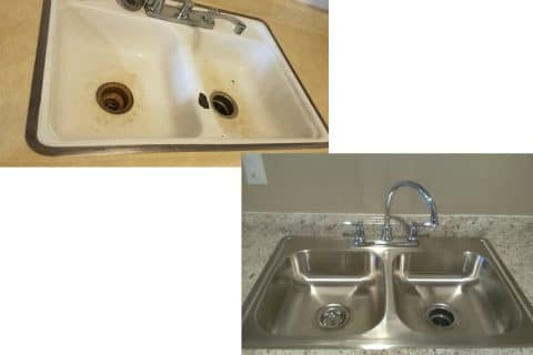 Sink before and after